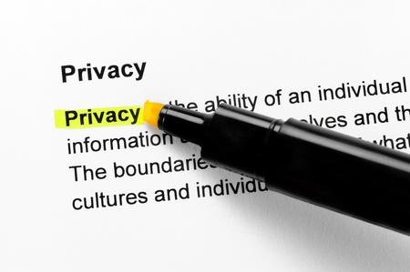 Texte de la vie privée surligné en jaune, dans la même rubrique