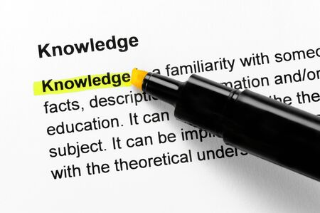 Knowledge text highlighted in yellow, under the same heading Stock Photo - 10285071