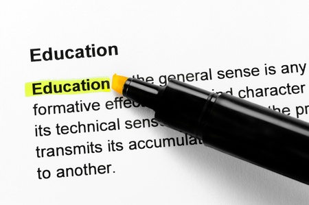 definition: Education text highlighted in yellow, under the same heading
