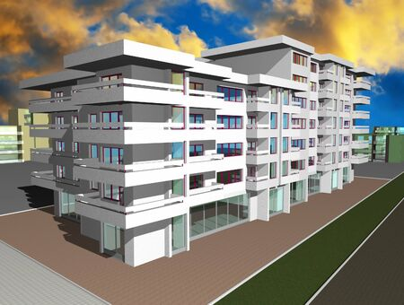 3d render of new modern residential building Stock Photo - 10370667