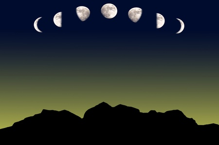 Changing phases of the Moon  Stock Photo - 10370665