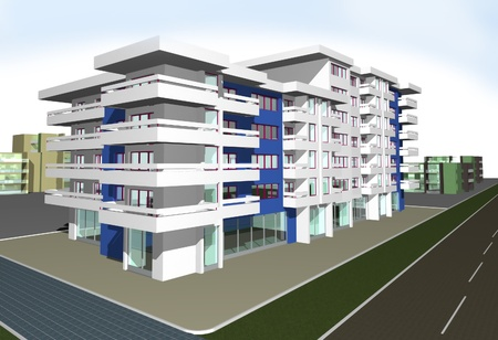3d render of modern residential building against blue sky photo