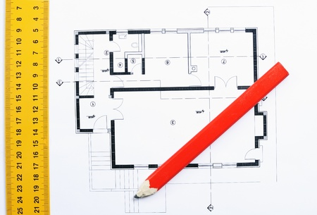 measures white house: Closeup image of house construction plan with ruler and wooden pencil Stock Photo