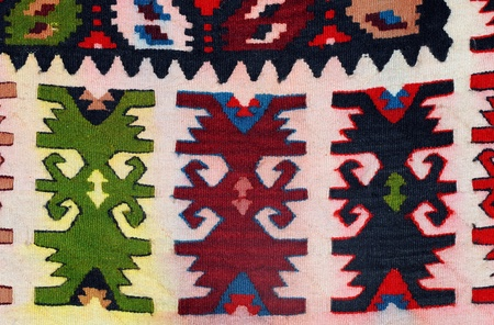balkan: Hand woven kilim pattern, patchwork from Balkan`s Stock Photo