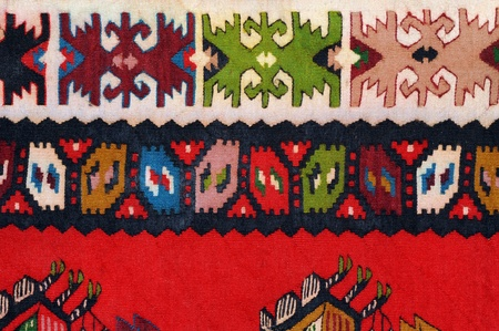 serbia: Hand woven kilim pattern, patchwork from Balkan`s Stock Photo