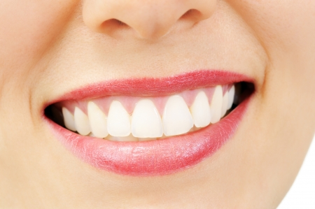 smile close up: Healthy woman teeth and smile. Close up Stock Photo