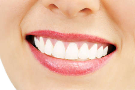 Healthy woman teeth and smile  Close up photo