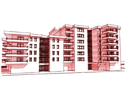 renders: Sketch idea, drawing of residential building, more renders in portfolio