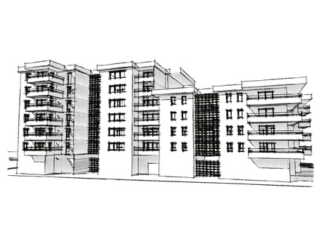 Sketch idea, drawing of residential building, more renders in portfolio Stock Photo - 12775655