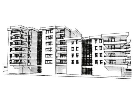 Sketch idea, drawing of residential building, more renders in portfolio