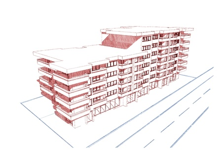 similar images: Sketch idea, drawing of modern residential building, more renders and similar images in portfolio