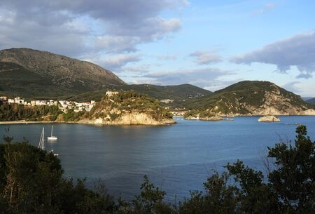 ionio: Aerial view of Parga with Ionio beach and old castle