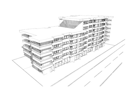 Sketch idea, drawing of modern residential building, more renders and similar images in portfolio