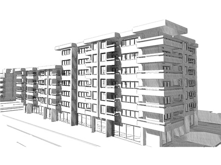 Sketch idea, drawing of modern residential building Stock Photo