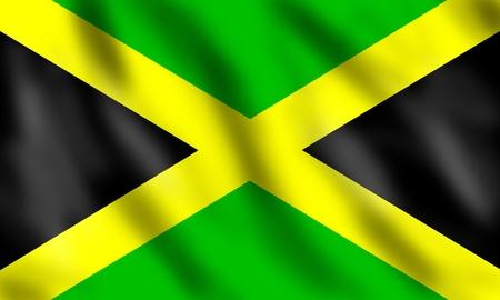 kingston: Flag of Jamaica, 3d illustration Stock Photo