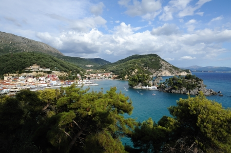 Aerial view of Parga, located on Ionian sea, Greece photo