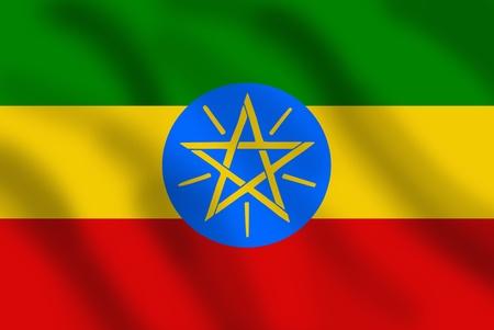 ethiopia flag: Waving flag of Ethiopia Stock Photo