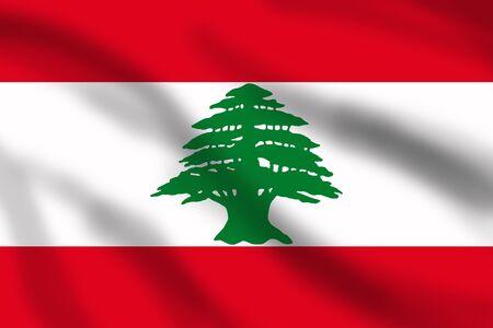 lebanon: Waving flag of Lebanon