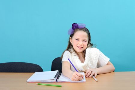 Adorable smiling girl doing her school work Stock Photo - 13689483