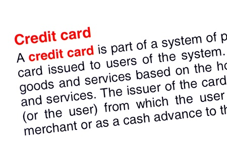 Credit card text highlighted in red under the same heading Stock Photo - 13935136