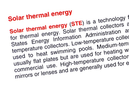 thermal energy: Solar thermal energy text highlighted in red under the same heading