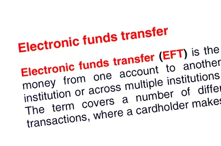 Electronic funds transfer text highlighted in red under the same heading Stock Photo - 13935009