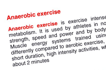 anaerobic: Anaerobic exercise text highlighted in red under the same heading