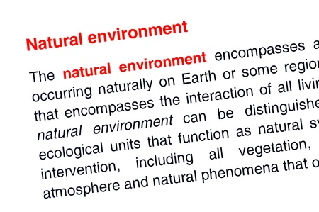 Natural environment text highlighted in red under the same heading Stock Photo - 13988192