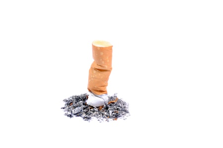 Single cigarette butt with ash isolated on white background Stock Photo - 14033778