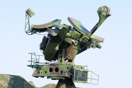 Camouflaged mobile military radar, can be used with missile launcher