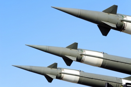 projectile: 3 hq S-125  ground to air missile ready for flight