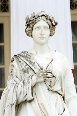 sissy: Statue of a Muse Thalia in the balcony of Achillion princess Sissys palace in Corfu, Greece. Thalia was the Greek Muse of Comedy Stock Photo