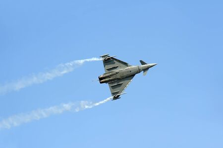 september 2: BATAJNICA, SERBIA - SEPTEMBER 2: Italian Eurofighter Typhoon fighter plane performing test flight during celebration of 100 years of Serbian Air force on September 2, 2012 in Batajnica, Serbia Editorial
