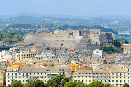 kerkyra: City of Kerkyra, aerial photo of town with new fortress, Corfu, Greece Stock Photo