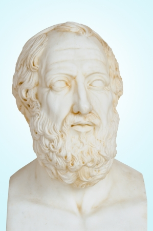 Antique statue of Plato or Platon, he was a philosopher and a mathematician in Classical Greece. He was also, student of Socrates