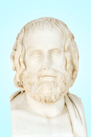 Antique statue of Euripides, he was one of the three great tragedians of classical Athens Stock Photo