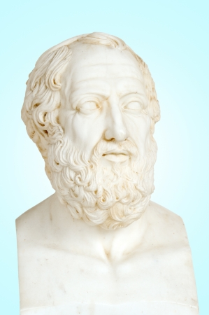 Antique statue of Plato or Platon, he was a philosopher and a mathematician in Classical Greece. He was also, student of Socrates photo