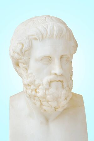 whose: Antique statue of Sophocles, he is one of three ancient Greek tragedians whose plays have survived. Stock Photo