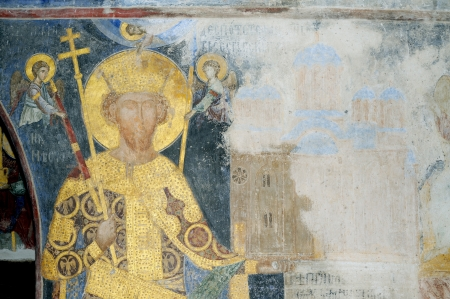 Fresco painting of Despot Stefan Lazarevic from monastery Manasija  early 15th century , founder portrait, holding in his left hand model of church