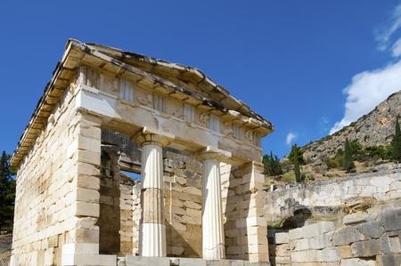 Athenian treasury, ancient city of Delphi, Greece photo