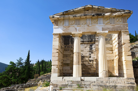 Athenian treasury, ancient city of Delphi, Greece photo