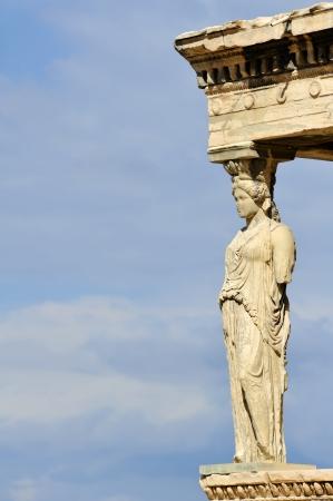 antigua grecia: Cariátide, la Acrópolis de Atenas, Grecia Foto de archivo