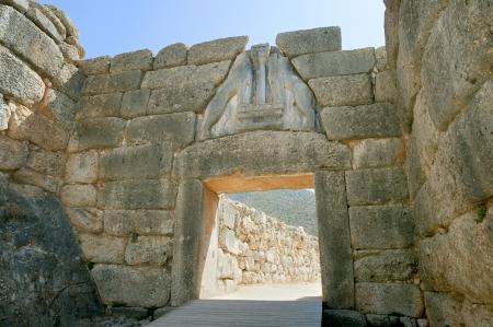 Liongates in ancient Mycenae, Peloponnese, Greece