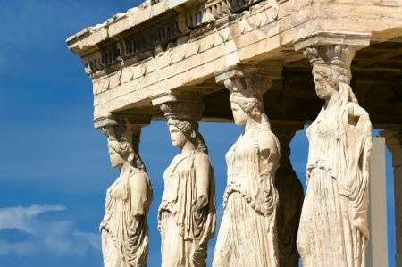 antigua grecia: Caryatides, Acrópolis de Atenas, Grecia