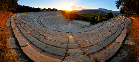 Epidaurus, first and biggest theater in ancient Greece, 180 degrees photo