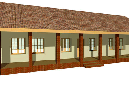 slavonic: Traditional house from Panonia region in Europe, 3D rendering