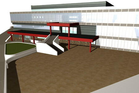 diminishing perspective: 3D rendering of modern shopping mall, entrance view