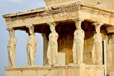 ancient greece: Caryatides, Erechteion, Parthenon on the Acropolis in Athens, Greece Stock Photo
