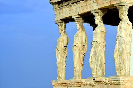 Caryatides, Erechteion, Parthenon on the Acropolis in Athens, Greece Stock Photo