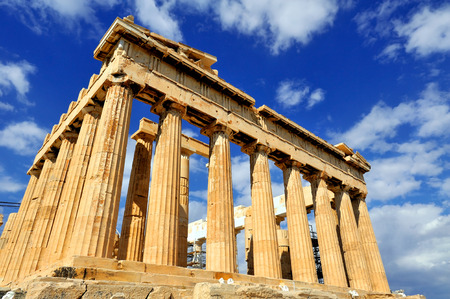 greek columns: Parthenon on the Acropolis in Athens, Greece Stock Photo